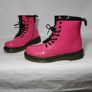 Dr. Martens Delaney Pink Patent Leather Boots